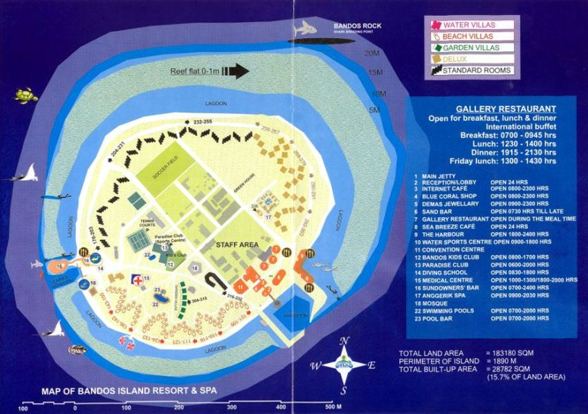 马尔代夫 班度士岛|班多士 Bandos islands 平面地图查看