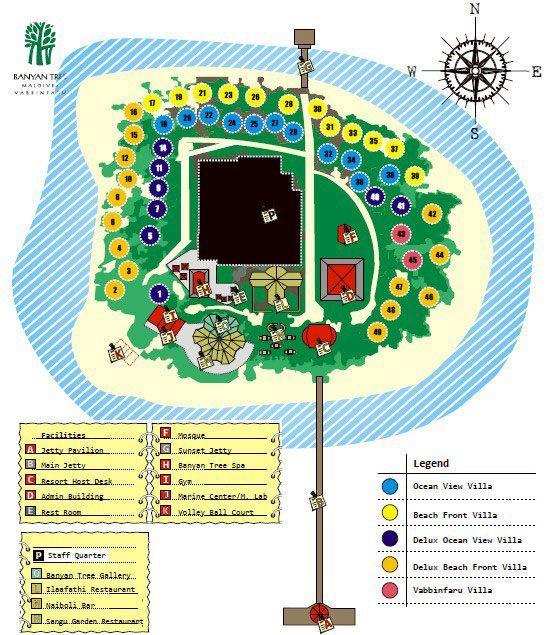 马尔代夫 悦榕庄–瓦宾法鲁岛 Vabbinfaru 平面地图查看