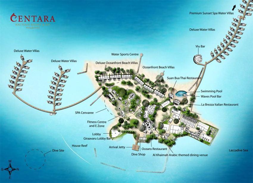 马尔代夫 国王岛(圣塔拉富士) Centara Ras Fushi 平面地图查看