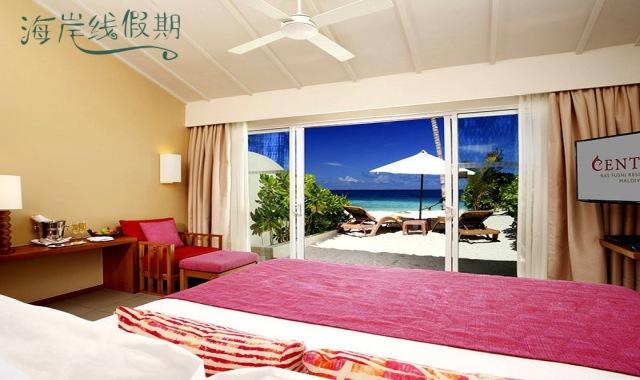 房型内部设施图片参考,如无边泳池与电视及音响, 海滨沙滩别墅-Ocean Front Beach Villa maldievs(国王岛(圣塔拉富士) Centara Ras Fushi)