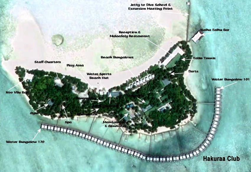 马尔代夫 哈库拉|魅力岛 Chaaya Lagoon Hakuraa Huraa 平面地图查看