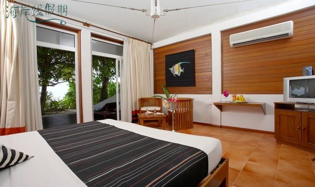 房型内部设施图片参考,如无边泳池与电视及音响, 海景豪华别墅-Beach Bungalow maldievs(哈库拉|魅力岛 Chaaya Lagoon Hakuraa Huraa)