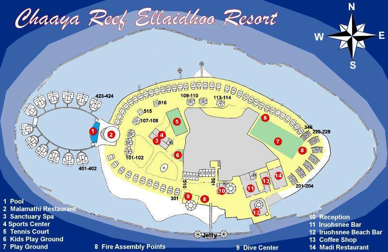 马尔代夫 艾拉胡岛|艾拉湖 Ellaidhoo By Cinnamon 平面地图查看