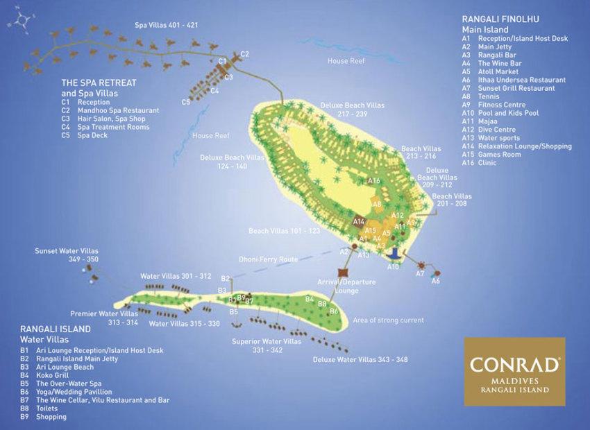 马尔代夫 港丽岛 Conrad Maldives Rangali 平面地图查看