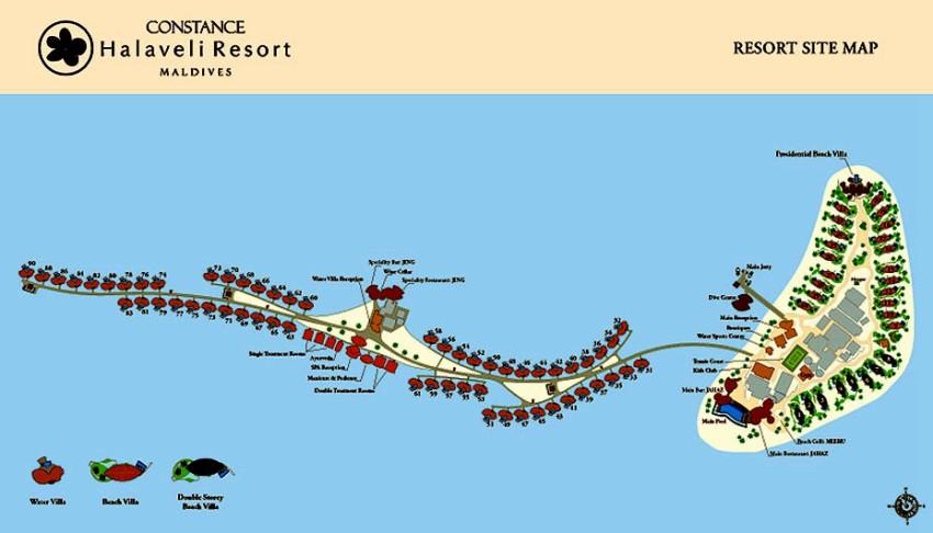马尔代夫 哈拉薇利岛 Constance Halaveli 平面地图查看