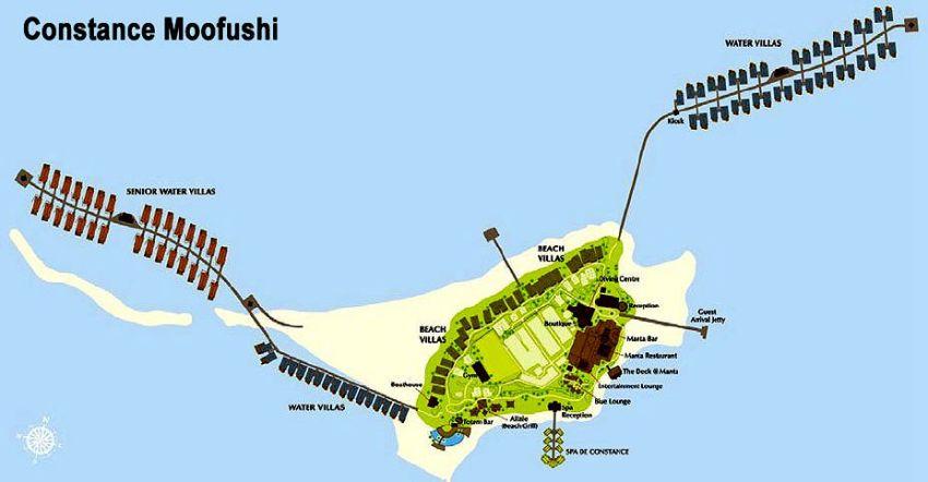 马尔代夫 慕芙士岛|魔富士 Constance Moofushi 平面地图查看