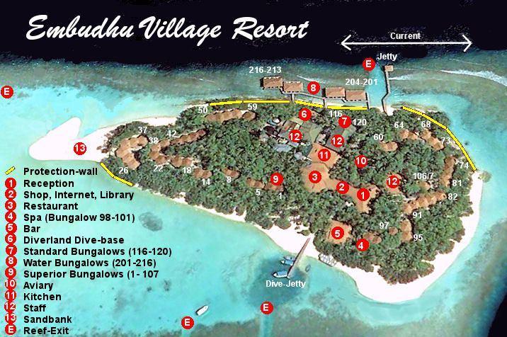 马尔代夫 艾布度|茵布度|宜宝岛 Embudu Village Maldives 平面地图查看
