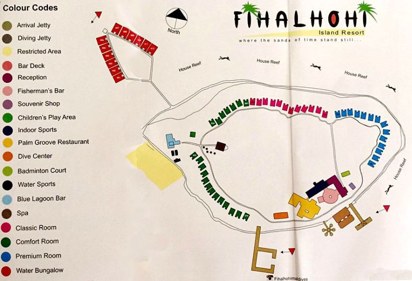 马尔代夫 菲哈后岛 Fihalhohi Island Resort 平面地图查看