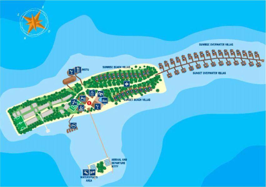 马尔代夫 妃诺岛|翡诺岛 ClubMed Finolhu Villas 平面地图查看