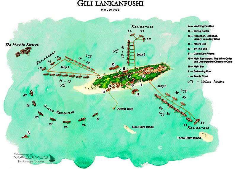 马尔代夫 姬丽兰卡富士 Gili Lankanfushi Maldives 平面地图查看