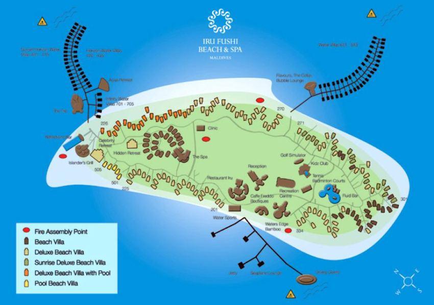 马尔代夫 伊露岛|伊露富士 THE SUN SIYAM IRU FUSHI  平面地图查看