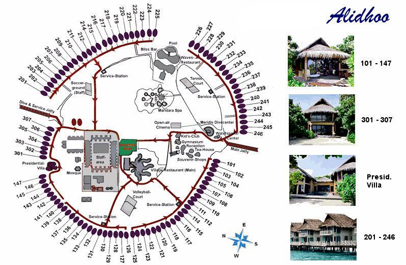 马尔代夫 (J岛)月桂岛 J Resort Alidhoo 平面地图查看