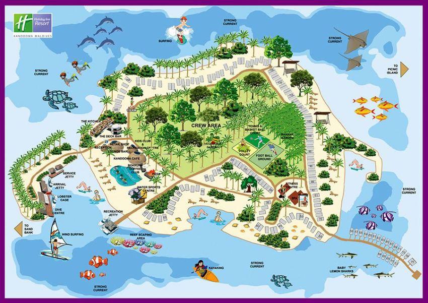 马尔代夫 康杜马|康杜玛岛度假村 Kandooma Maldives 平面地图查看