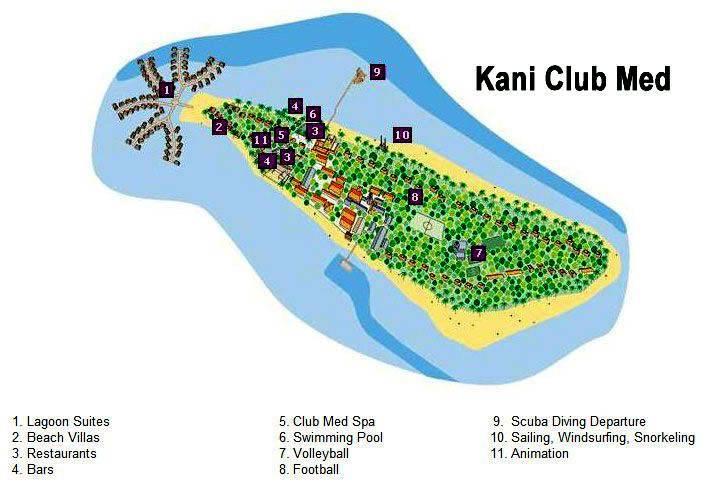 马尔代夫 卡尼岛 Club Med Kani 平面地图查看