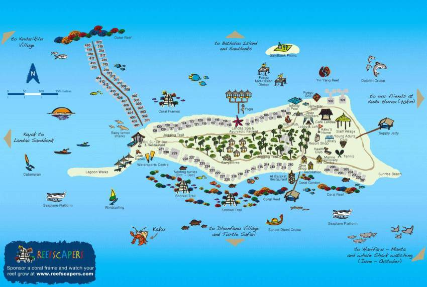 马尔代夫 大四季-兰达吉拉瓦鲁 Fourseasons Landaa Giraavaru 平面地图查看