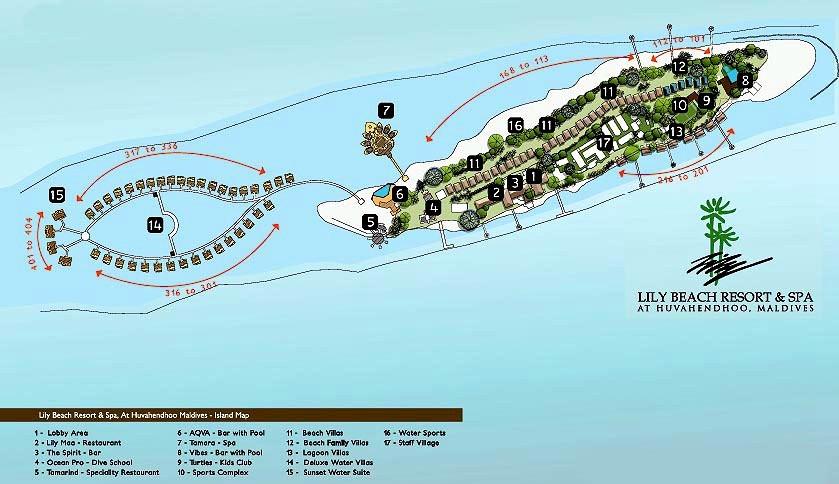 马尔代夫 丽莉岛|莉莉岛 Lily Beach Resort 平面地图查看