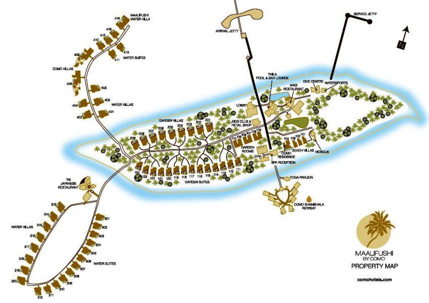 马尔代夫 玛丽富士 COMO Maalifushi 平面地图查看