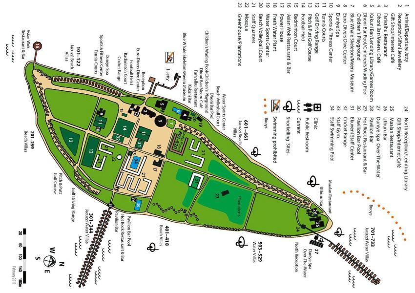 马尔代夫 美禄岛|蜜月岛 Meeru 平面地图查看