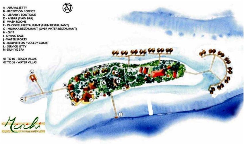 马尔代夫 蜜莉喜岛 Mirihi Island Resort 平面地图查看