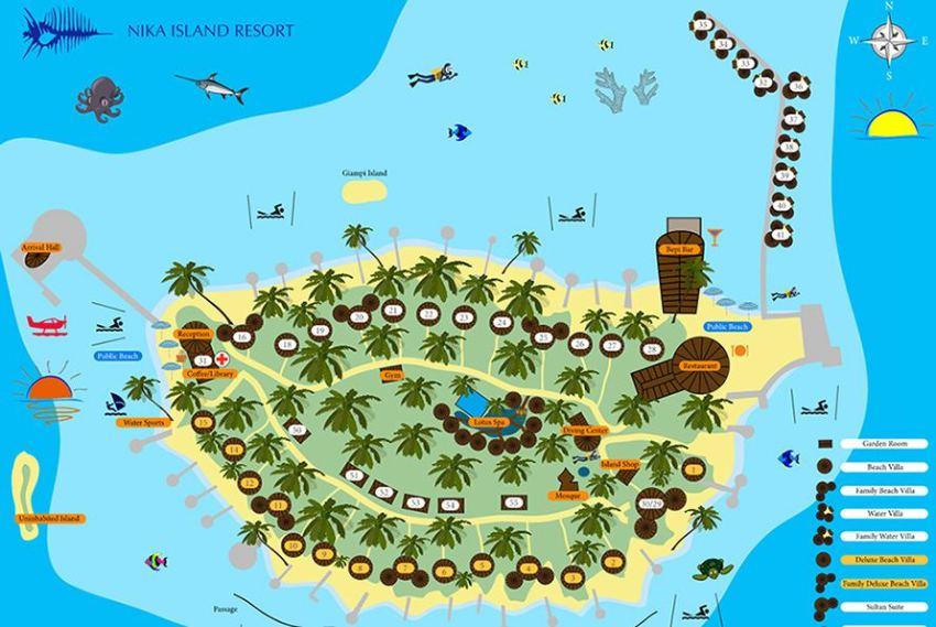 马尔代夫 尼卡岛 Nika Island 平面地图查看