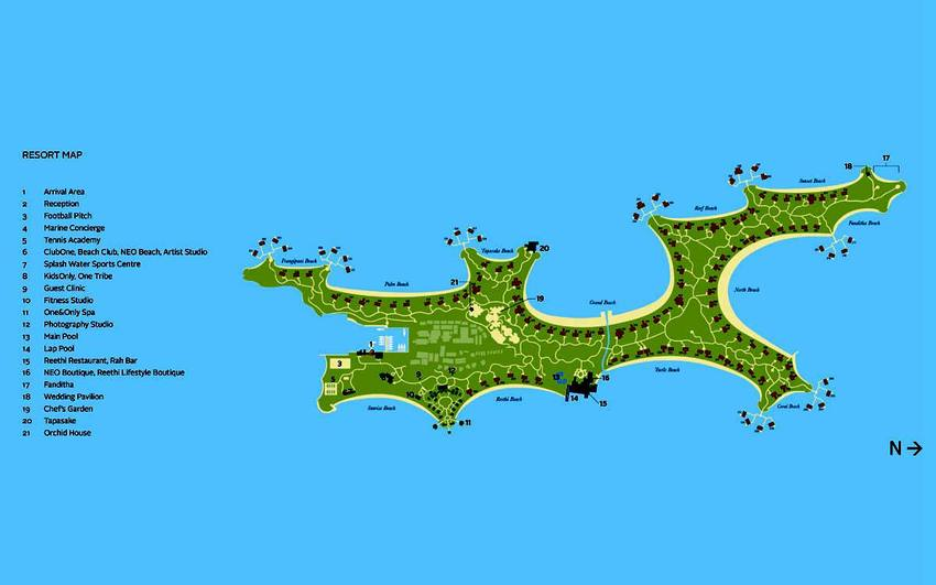 马尔代夫 瑞提拉唯一岛 One Only Reethi Reethi Rah 平面地图查看