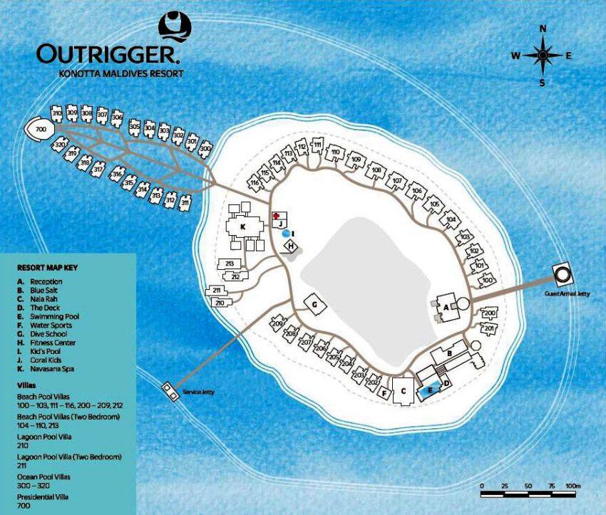马尔代夫 奥瑞格卡纳塔 Outrigger Konotta 平面地图查看