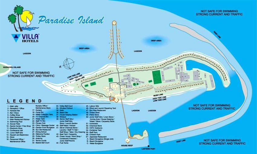 马尔代夫 天堂岛 Paradise 平面地图查看
