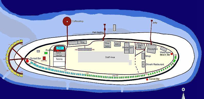 马尔代夫 瑞提海滩 Reethi beach resort 平面地图查看