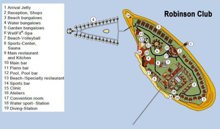 马尔代夫 鲁宾逊|罗宾逊|鲁滨逊 Robinson Club 平面地图查看