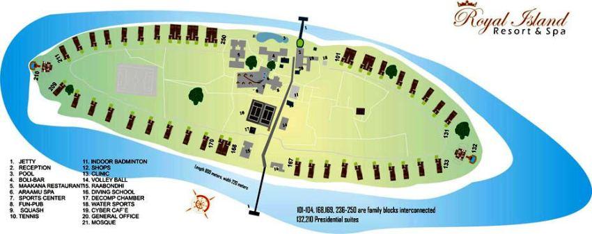 马尔代夫 皇家岛 Royal Island Resort 平面地图查看