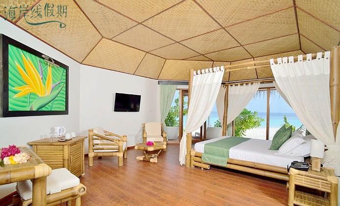房型内部设施图片参考,如无边泳池与电视及音响, 沙滩小房-Beach Bungalow maldievs(萨芙莉岛 Safari Island)