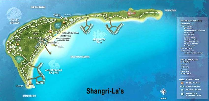 马尔代夫 香格里拉薇宁姬莉岛 Shangri-La s Villingili Resort and Spa Maldives 平面地图查看