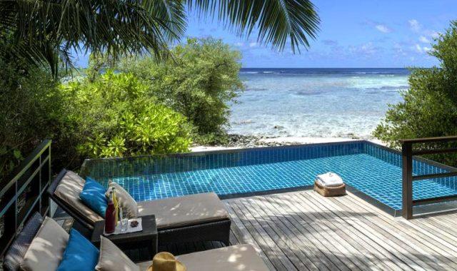 房型内部设施图片参考,如无边泳池与电视及音响, 泳池别墅-Pool Villa maldievs(香格里拉薇宁姬莉岛 Shangri-La s Villingili Resort and Spa Maldives)