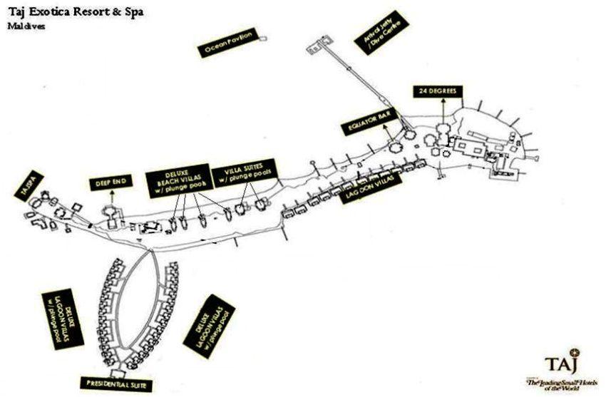 马尔代夫 泰姬珍品岛|泰姬魅力 Taj Exotica 平面地图查看