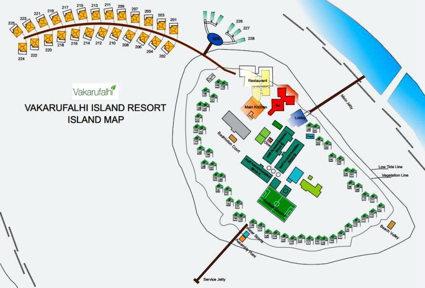 马尔代夫 蕉叶岛 Vakarufalhi Maldives 平面地图查看