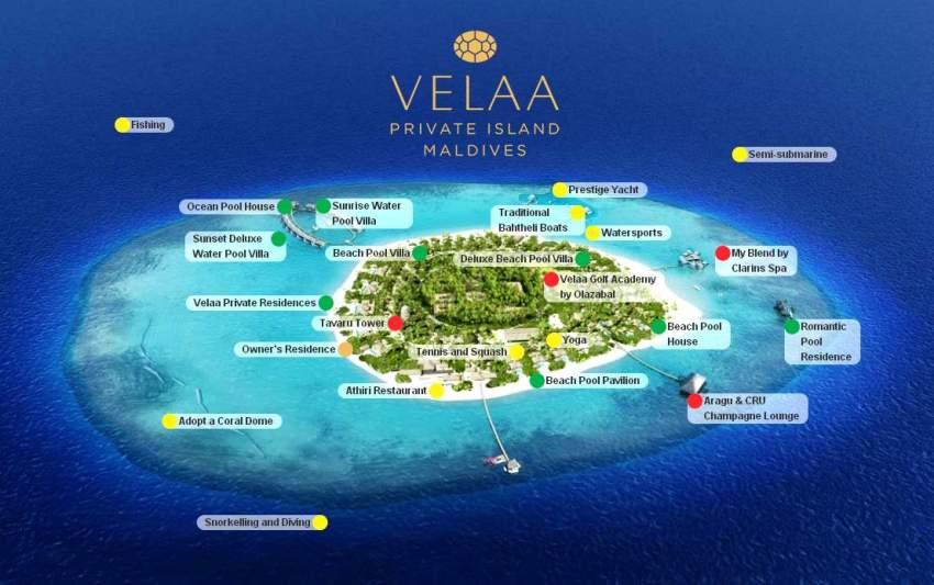 马尔代夫 维拉私人岛 Velaa Private Island 平面地图查看
