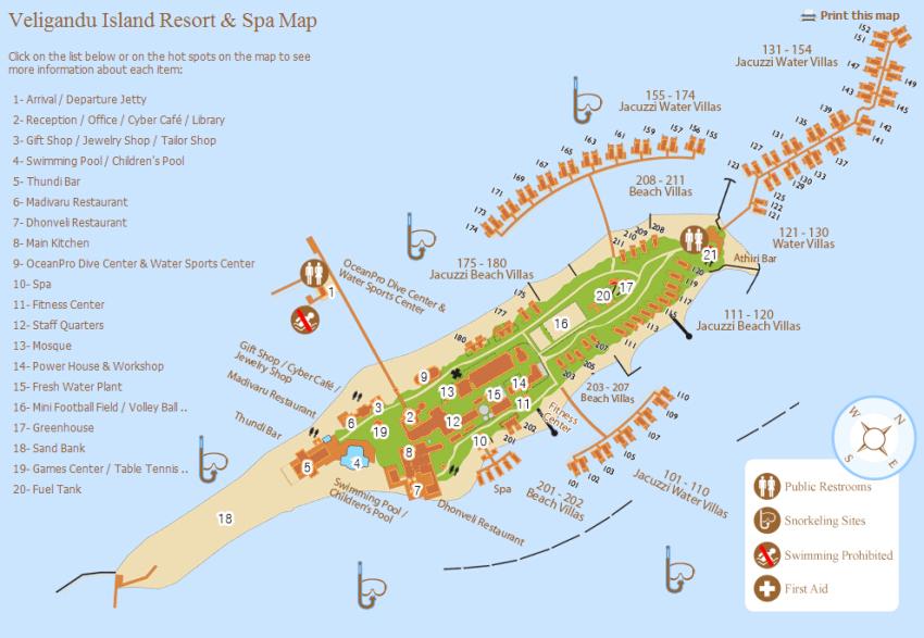 马尔代夫 维利甘度 Veligandu 平面地图查看