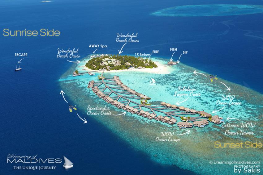 马尔代夫 W岛|宁静岛 W Retreat 平面地图查看