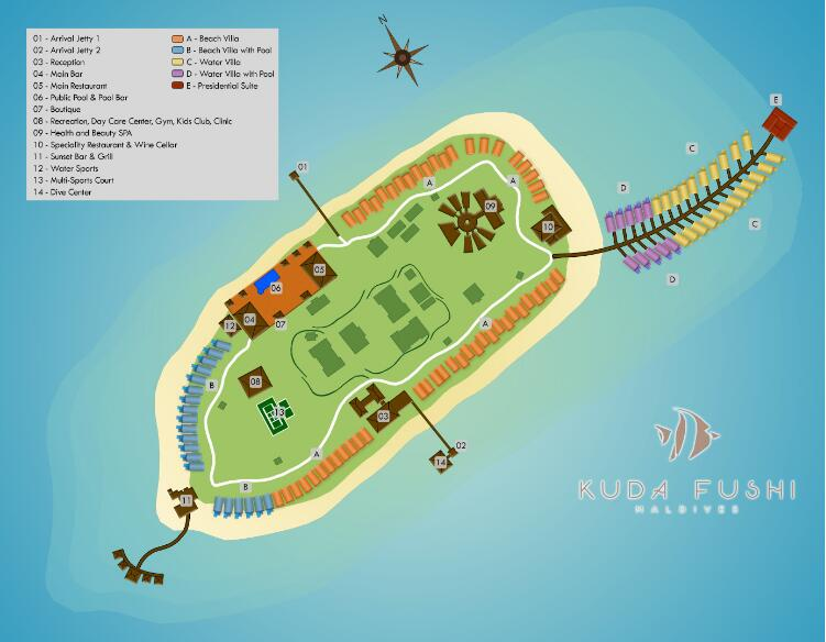 马尔代夫 库达富士度假村 KUDAFUSHI RESORT and SPA 平面地图查看