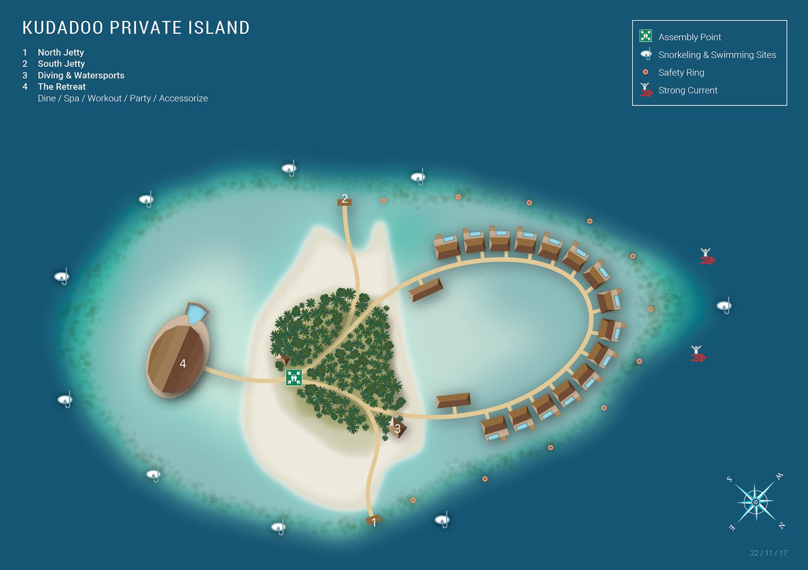 马尔代夫 库达度私人岛 Kudadoo 平面地图查看