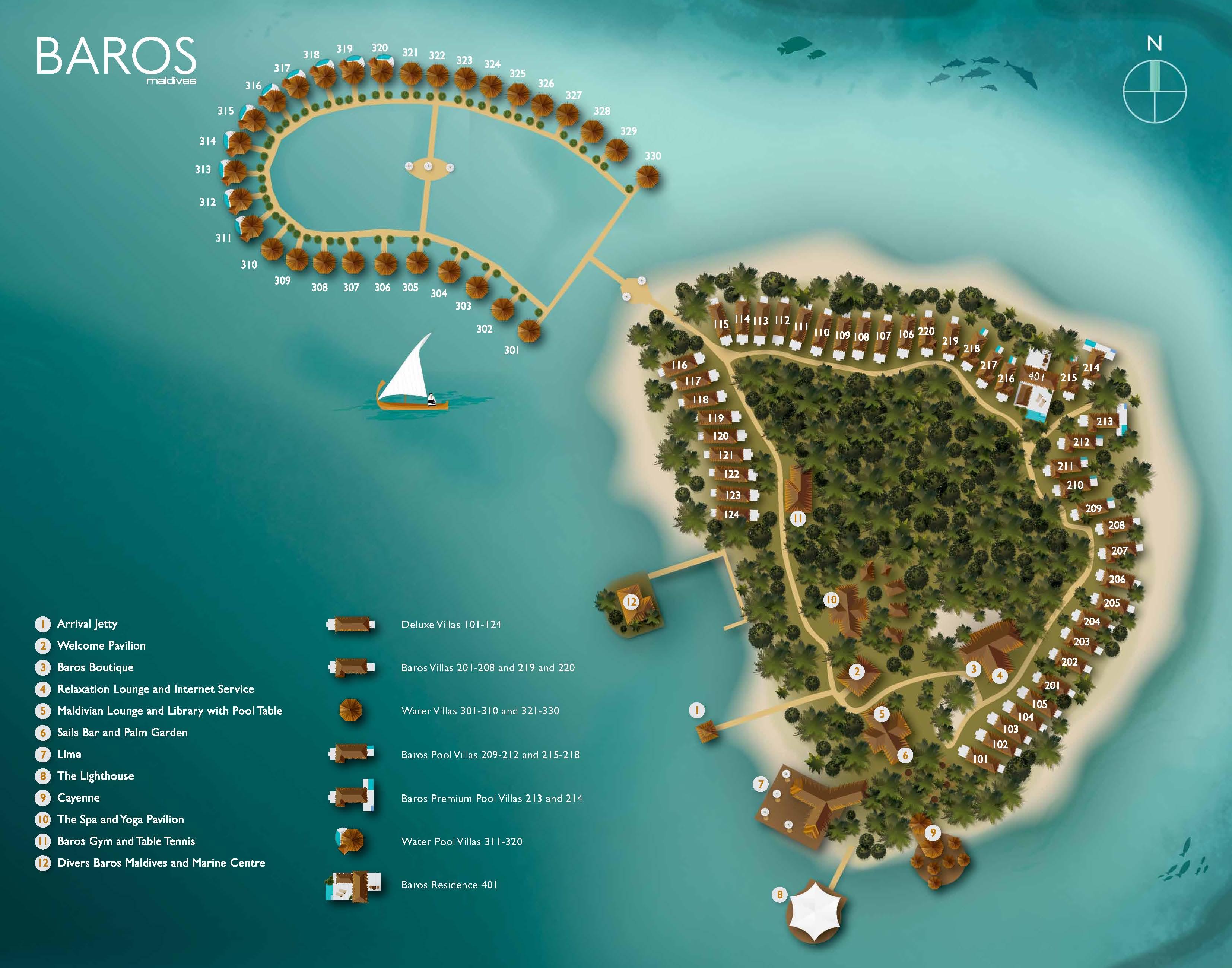 马尔代夫 巴洛斯岛 Baros 平面地图查看