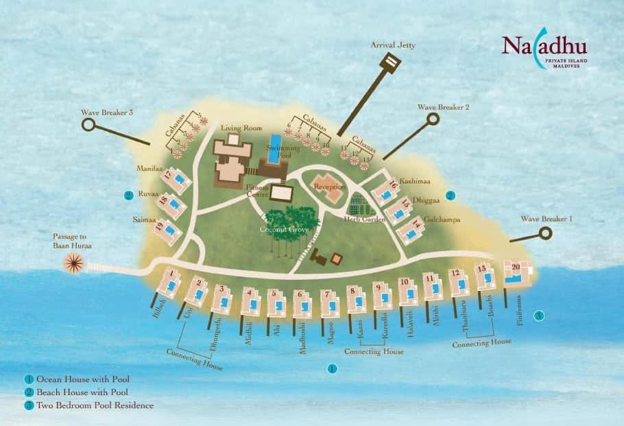 马尔代夫 娜拉杜岛 Naladhu Private Island Maldives 平面地图查看