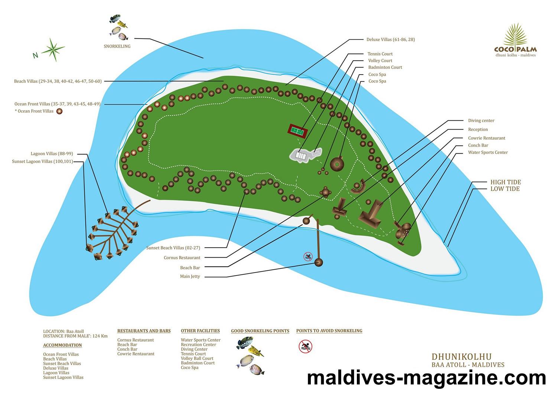 马尔代夫 杜尼可鲁岛(可可棕榈杜妮) Coco Palm Dhuni Kolhu 平面地图查看