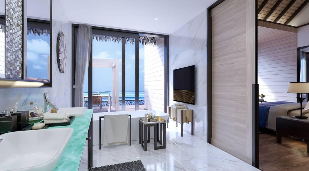 房型内部设施图片参考,如无边泳池与电视及音响, Water Villa with Pool-水上泳池别墅 maldievs(丽笙度假酒店 Radisson Blu Resort Maldive)