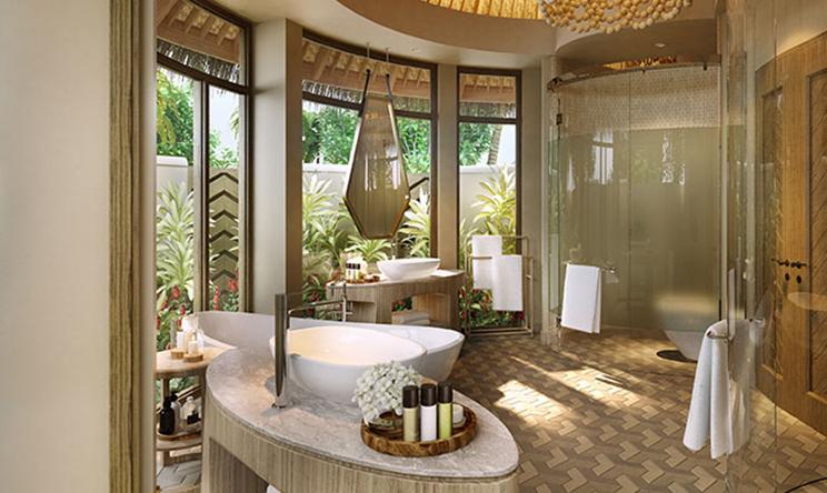 房型内部设施图片参考,如无边泳池与电视及音响, 1-bedroom Beach Houses-单卧海滩屋  maldievs(鹦鹉螺岛 The Nautilus Maldives)