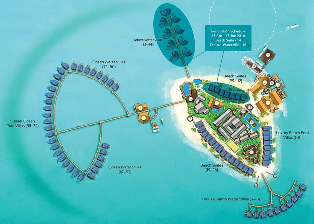 马尔代夫 中央格兰德|圣塔拉岛 Centara Grand 平面地图查看