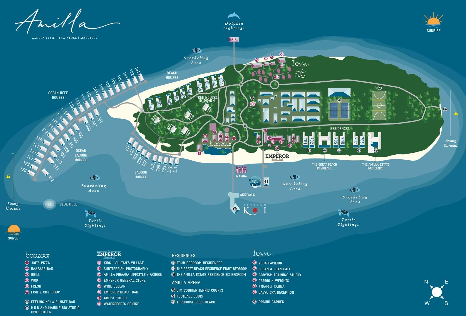 马尔代夫 阿米拉 Amilla Fushi 平面地图查看