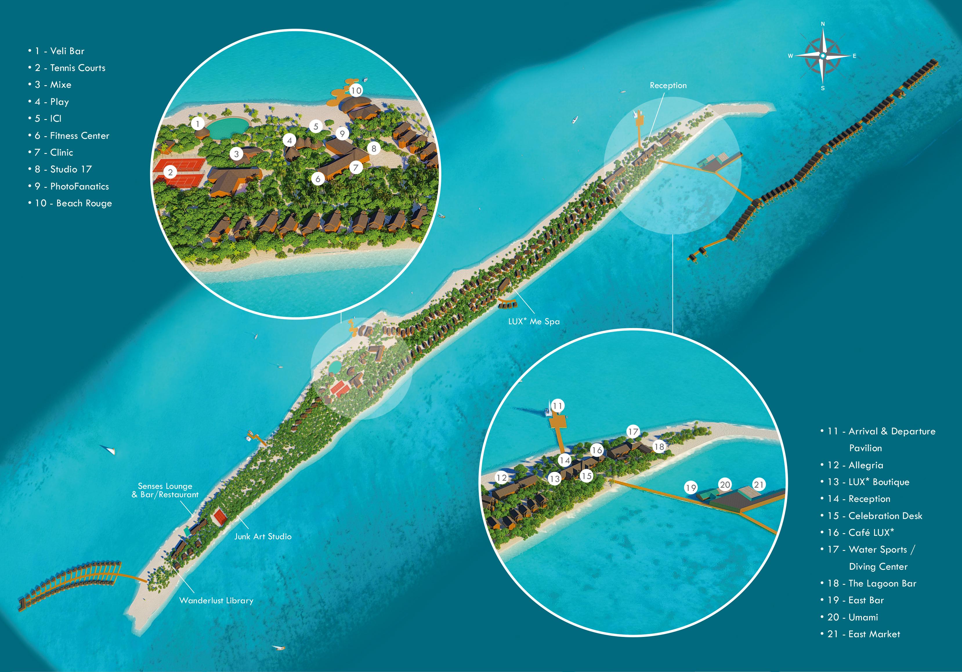 马尔代夫 丽世岛|原狄娃岛 LUX* SOUTH Maldives 平面地图查看